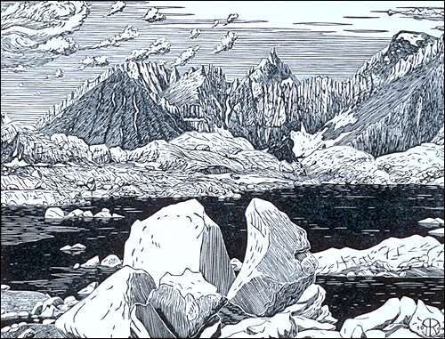 Milestone Mountain from a Lake below Mt. Ericsson