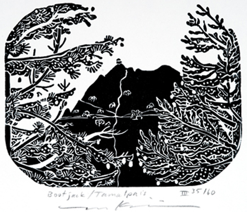 """Bootjack Camp, View of East Peak (also titled as """"Mt. Tam, Bootjack"""")"""
