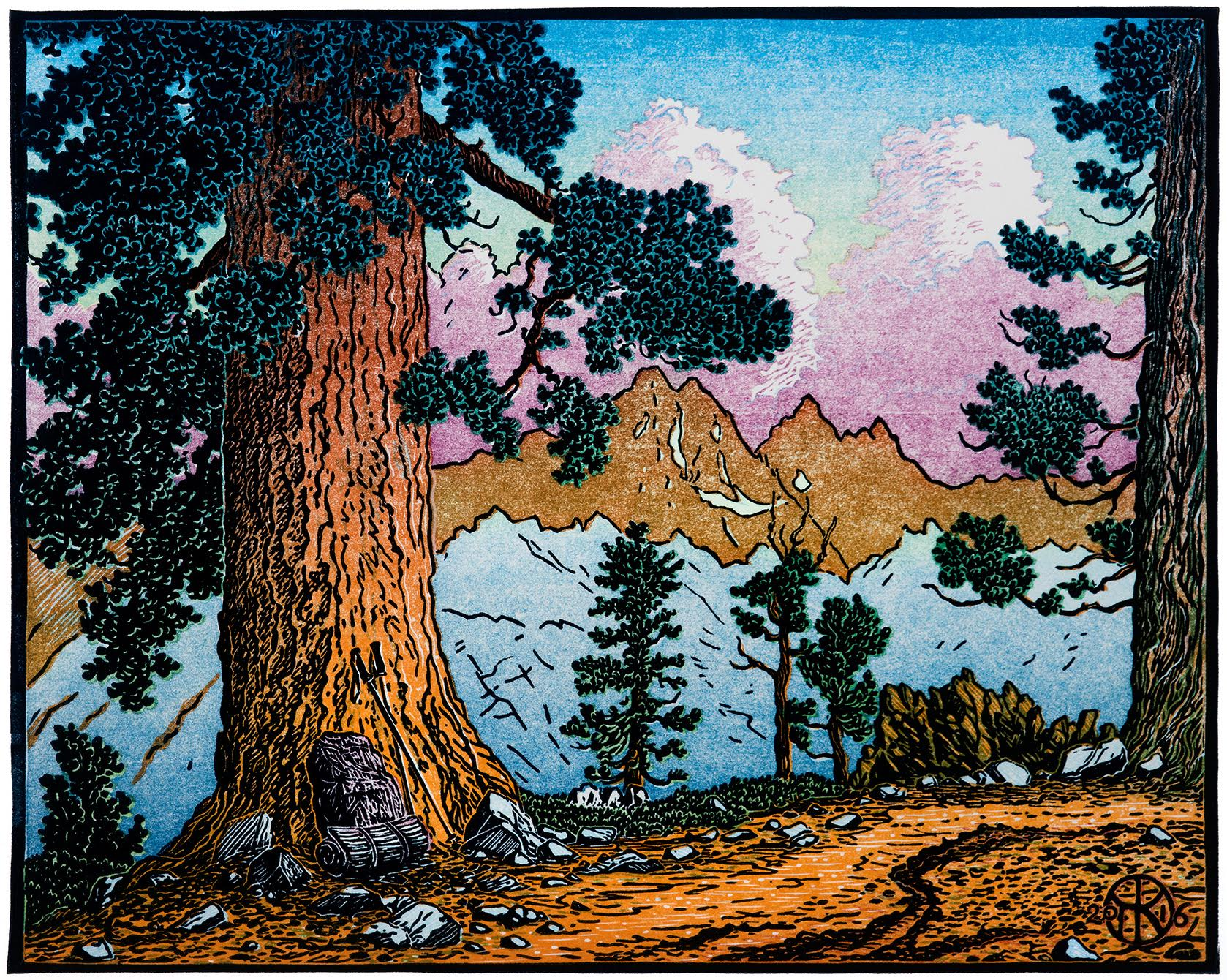 """""""Trail to Iron Mountain"""": 7 color-layer multi-block reduction-cut print, created summer 2016. The view is of the southern end of the Ritter Range in the High Sierra,from just west of Devil's Postpile Nat'l Monument near Mammoth Lakes, CA."""