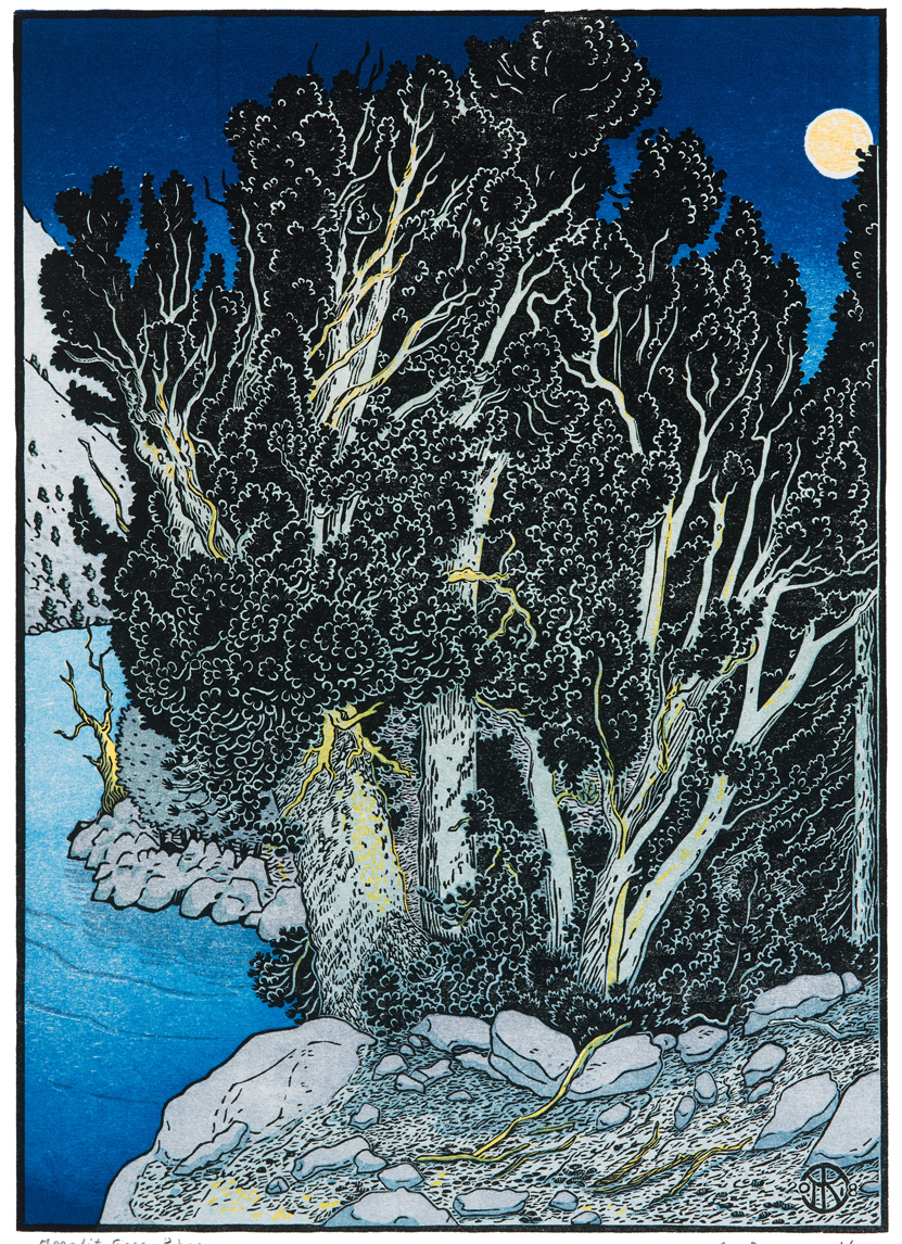 """""""Moonlit Sierra Pines"""" is a 6 block multi-color woocut print completed in late 2018. The sketch was made by the shore of Upper Rae Lake in Sequoia Nat'l Park. Killion initially carved 5 blocks with Japanese-style  kento  registration notches for printing with traditional Japanese  moku hanga  hanprinting techniques. He studied this process, using these blocks, in Kyoto in October 2018, and produced a small set of  moku hanga  prints of the image. When he returned to California, Killion carved a 6th (tint) block and printed an edition of 160 prints using his usual oil-based inks and hand-cranked proof press.Some of the steps in this learning experience are shown on the right."""