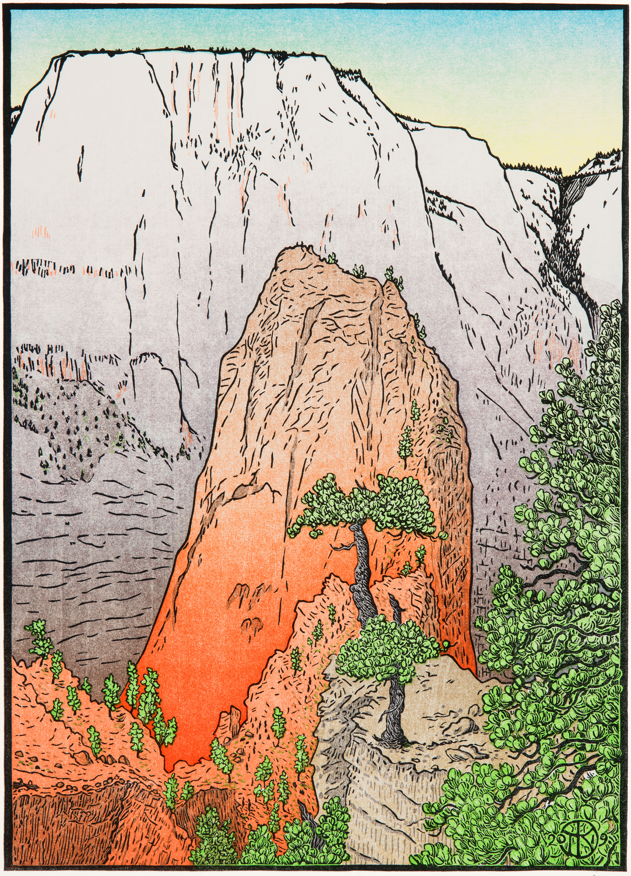 """""""Angels Landing, Zion National Park"""": 10 color-layer multi-block reduction cut print completed Feb. 2019. The scene is from above Angels Landing rock, with the White Throne cliffs behind. Sketched in March 2018 while Killion was 'Artist in Residence' at Zion, where he stayed in the stone house at the Angels Landing trailhead. He climbed the rock in the early morning before the crowds (which you can see as little dots snaking up the mid-ground rock in the print), then climbed much further up the mountain behind the rock for this view. Some of the blocks and color printing runs are shown at right to give you an idea of Killion's complex carving and printing process, beginning with key block being transferred to uncarved color blocks, then carving the color blocks and printing them layer by layer — the 'green' color block (with sky layers printed seperately) is shown, as is the final background tint layer on the cliffs behind Angels Landing rock."""
