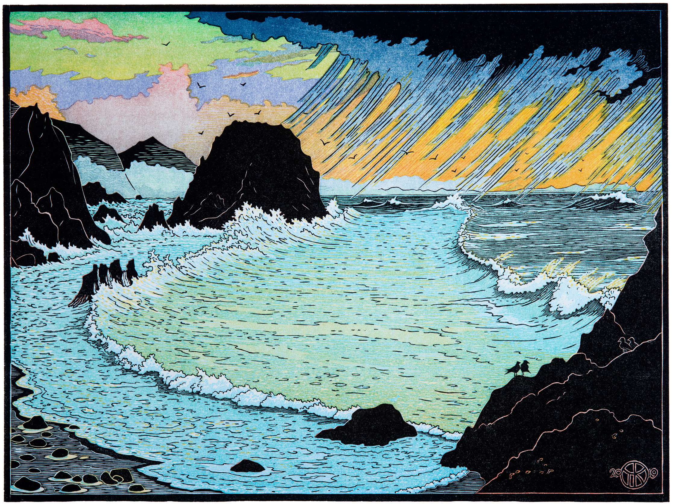 """""""Elephant Rock, Pt. Reyes"""": 11 color-layer multi-block reduction cut completed spring 2019. The scene is a winter storm beating on the coast just south of McClure's Beach, with the Pt. Reyes peninsula visible through rain on the horizon. The key block was cut in cherry wood, and color blocks were shina.  On the right you can see some of the steps in making this 11-color layer print, beginning with a photo of the scene and progressing thru carving some of the blocks in cherry and shina woods, printing various color layers and deciding to add more layers to golden-yellow and green-blue sea colors after experimenting with key block proofs of the black layer over earlier color combinations. Along the way you can see that the 'rain block' was used to transfer a second pattern for registering carving of sky between the rain spouts. You can also see an example (yellow block) of the paper 'make-ready' Killion places under the blocks to build-up areas to print darker (so that other areas can be lighter). At bottom are the final color layers juxtaposed with a proof of the black key block layer that was printed last to make the finished print (although in this case two more reduction-cut layers of the blue-green sea block were printed  after  the key block to satisfy the artist!)."""