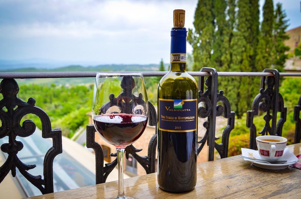 Enjoying Vino Nobile di Montepulciano and espresso on the terrace at Caffe Poliziano