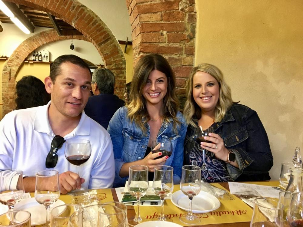 Enjoying Tuscan wine!