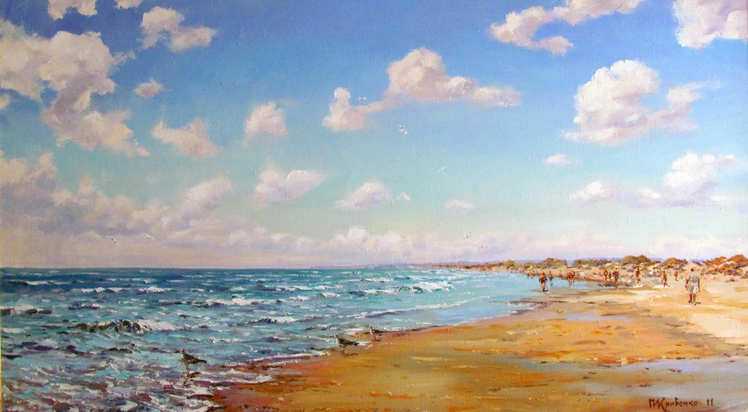 Море.Чайки на берегу.2011.Хм. 95х150.JPG