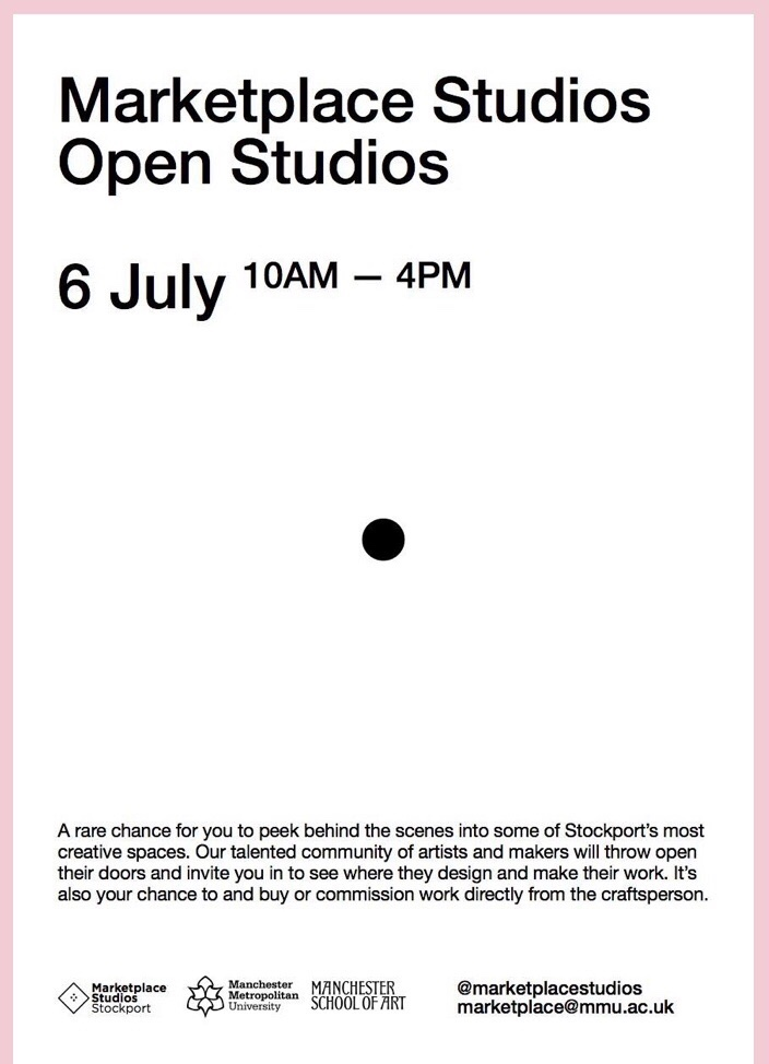 Better have a tidy up! - I now share a studio with Lauren Taylor and on the 6th July we will be opening up to the public for a behind the scenes peek at our work space: come along to chat about our creative practice, our work processes and get a feel for how we design and make.Sat above the cobbled market square you'd be surprised at the bubbling creativity that sits hidden under our roof.Combine it with a trip to the market to buy plastic free fruit and veg, browse the vintage stores and meander the back streets to uncover the secret Stockport and all it's independent shops and cafes that are a stones throw from our studios.