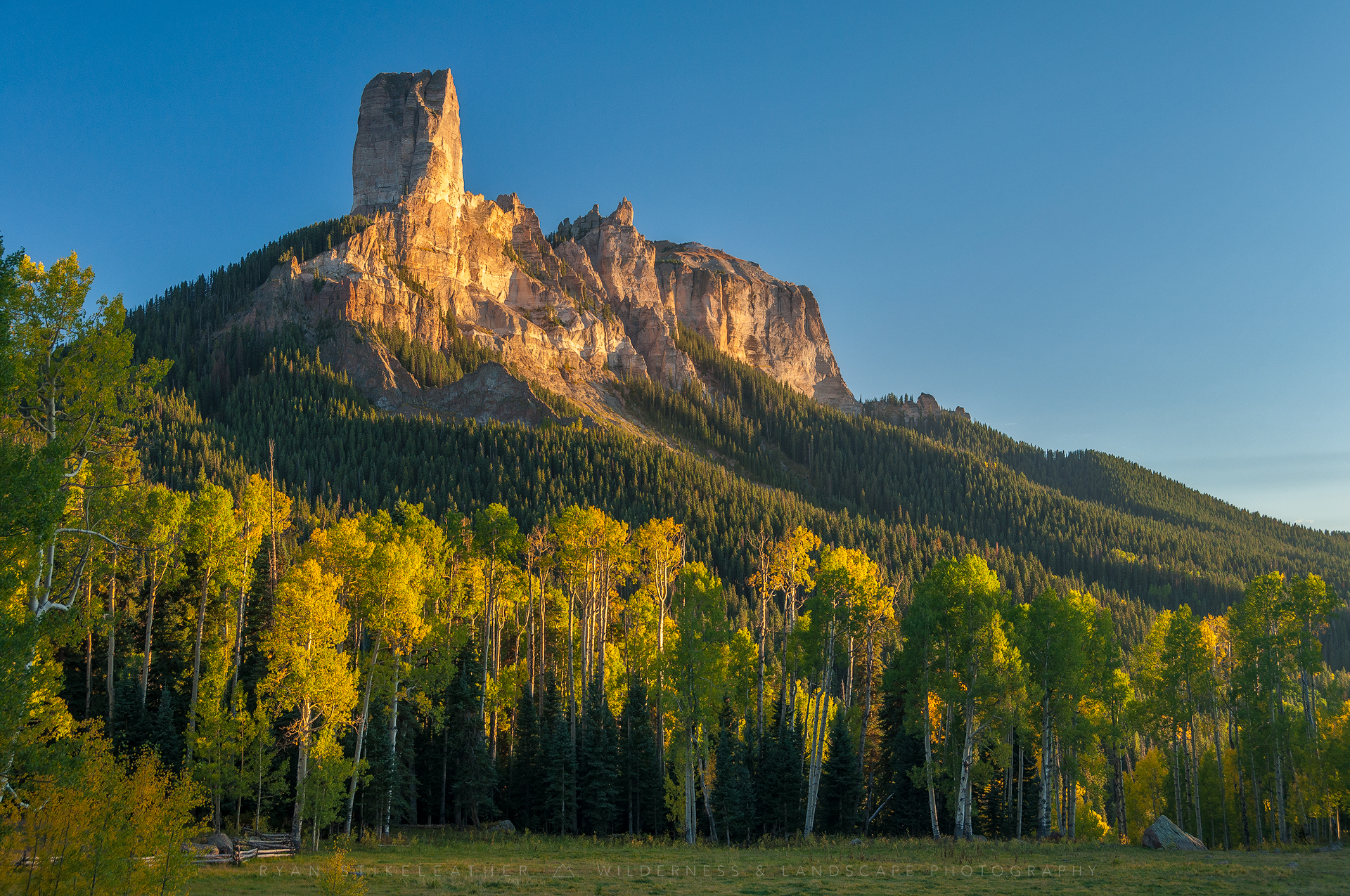 Warm Glow On Chimney Rock
