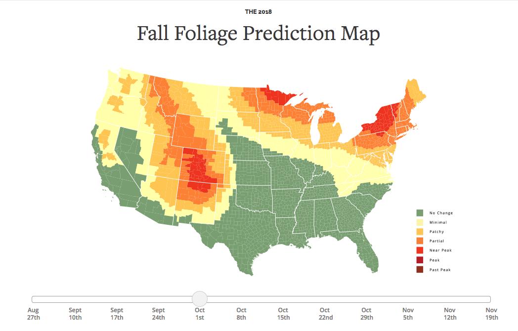 SmokyMountains.com 2018 Fall Foliage Prediction Map