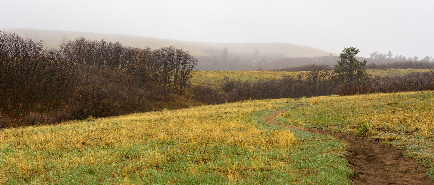 Crossing a meadow at the start of Palmer Divide Ranch Trail