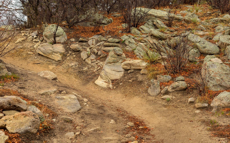 Rock covered terrain along Palmer Divide Ranch Trail