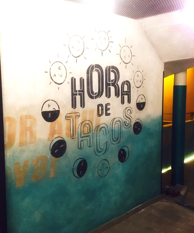 Ian stencilling at Wahaca Brighton - interiors - completed.
