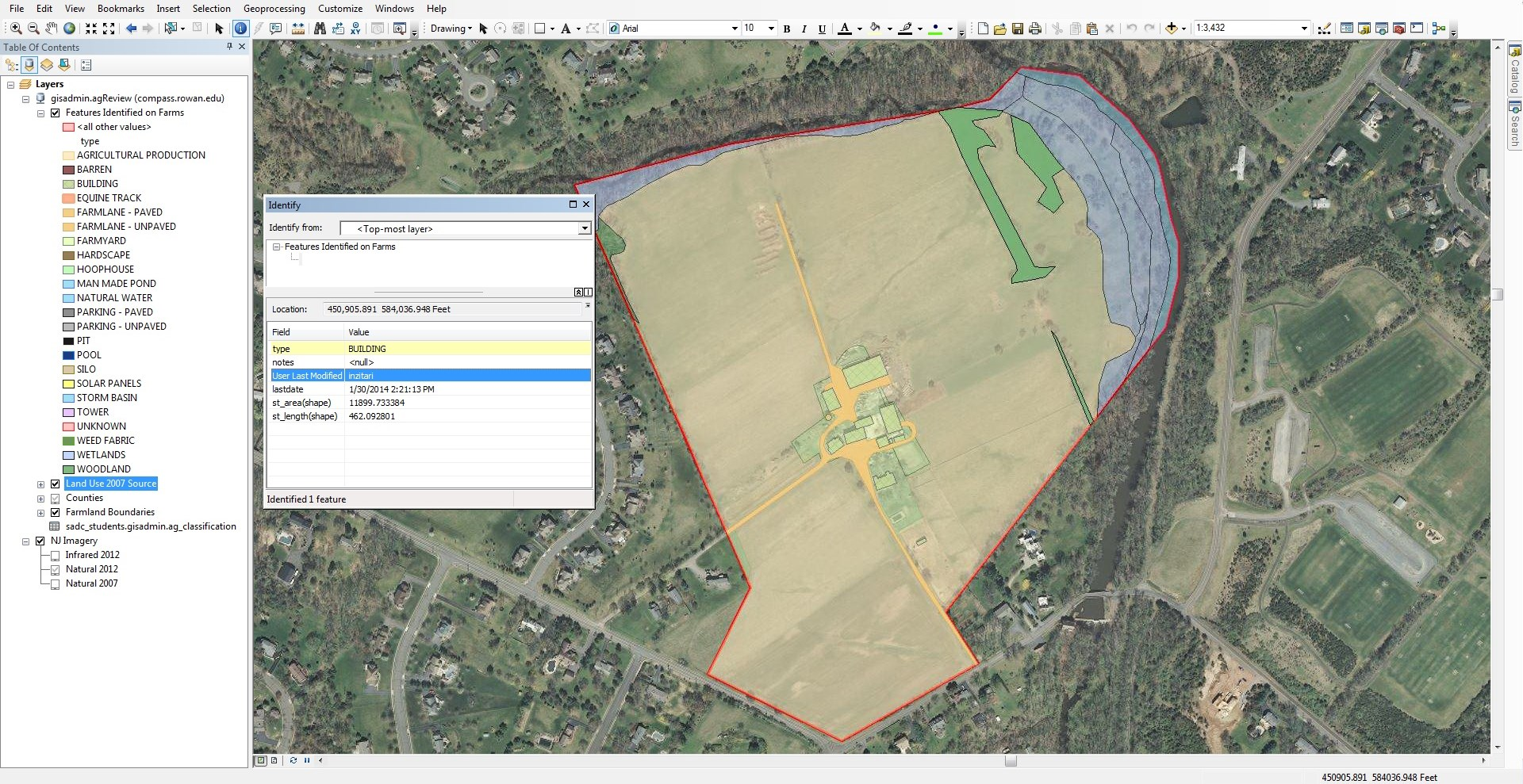 The feature classes used to map the farmland.