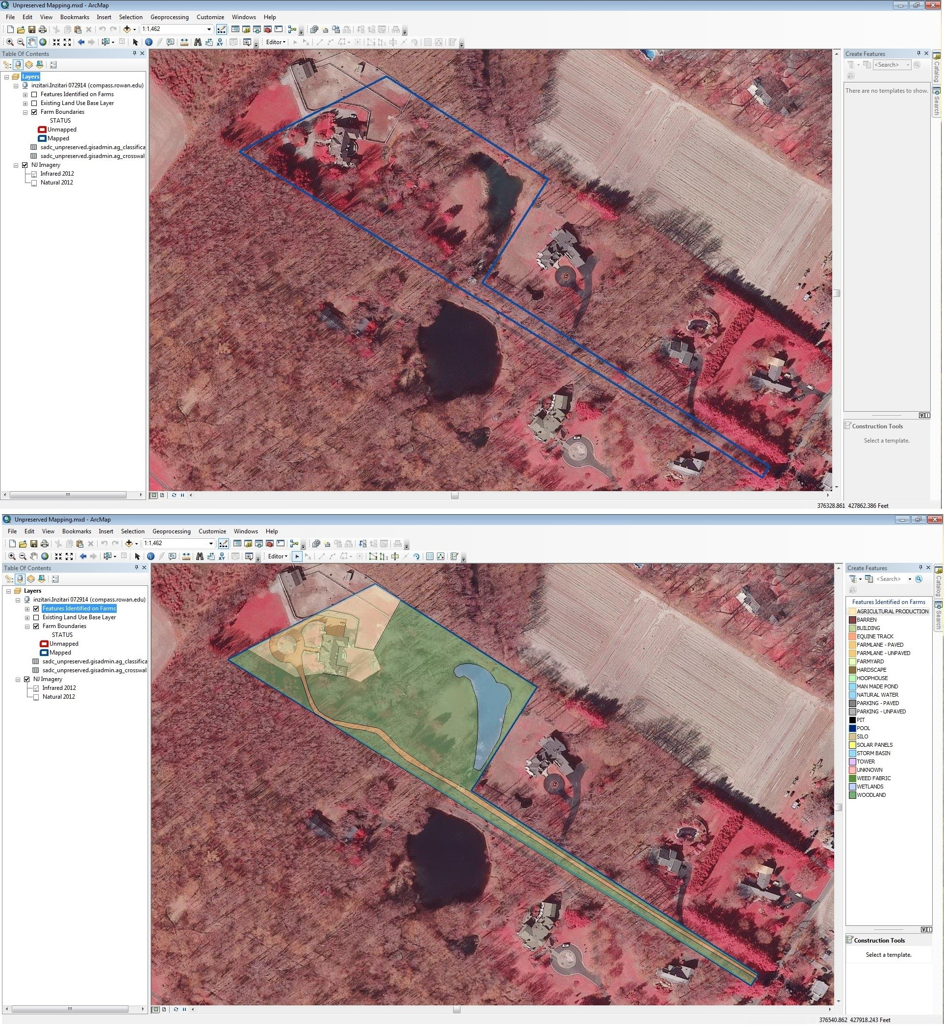 Extracting a previously unmapped farm, before (top) and after (bottom).