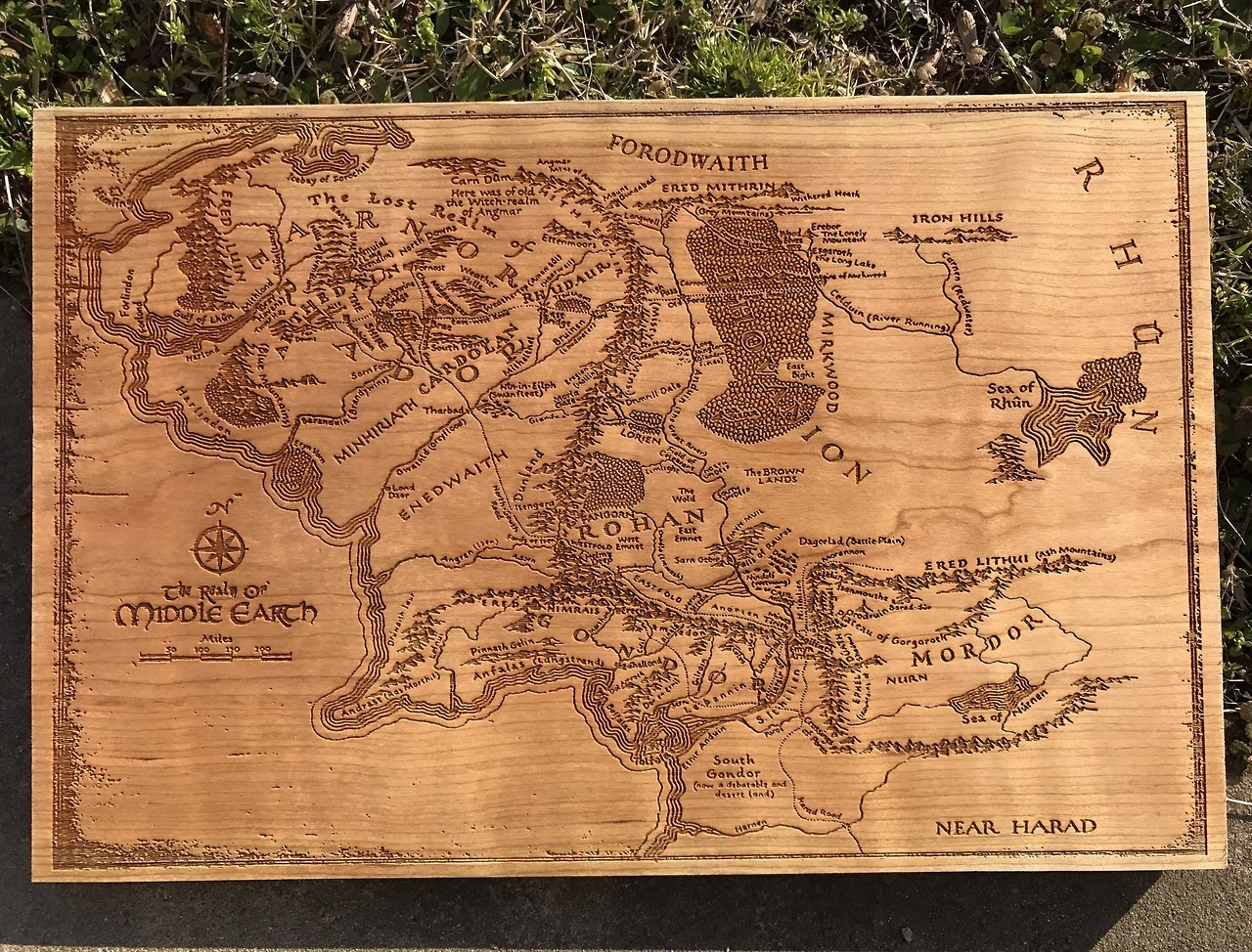 Laser engraved map of Middle Earth from Lord of the Rings, by  shawnxstl