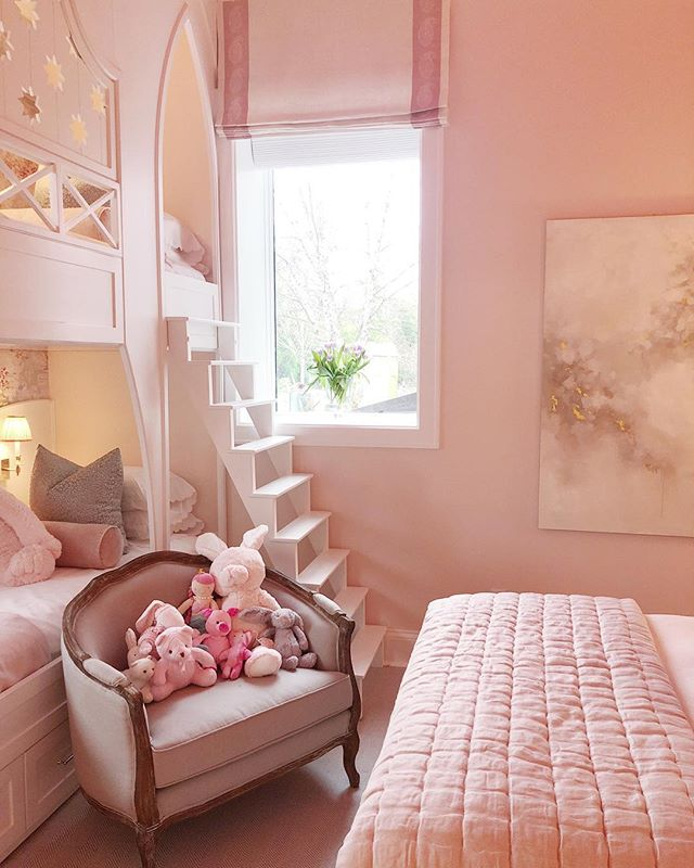 Pretty in pink for a sweet little girl! Sneak Peek from a recent installation. #laurelpowelldesigns #architecture + #interiors