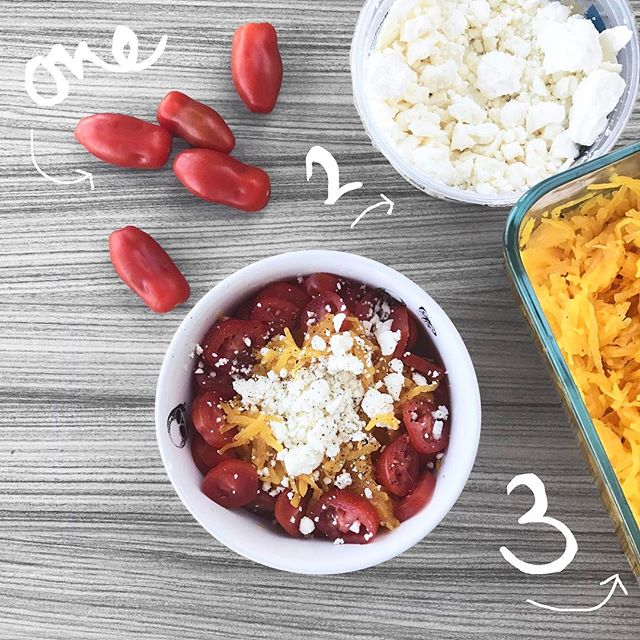 """3 INGREDIENT Salad!!! → I feel kinda silly posting a """"recipe"""" for this one, anyone can totally create it from just looking at it, but can you do it in under 4 minutes? 😏 #ichallengeyou 💪🏻(*hint: meal prep the squash ahead of time 😉) --- [ Recipe: meal prepped squash + baby tomatoes + feta cheese - top with olive oil + pepper ]"""