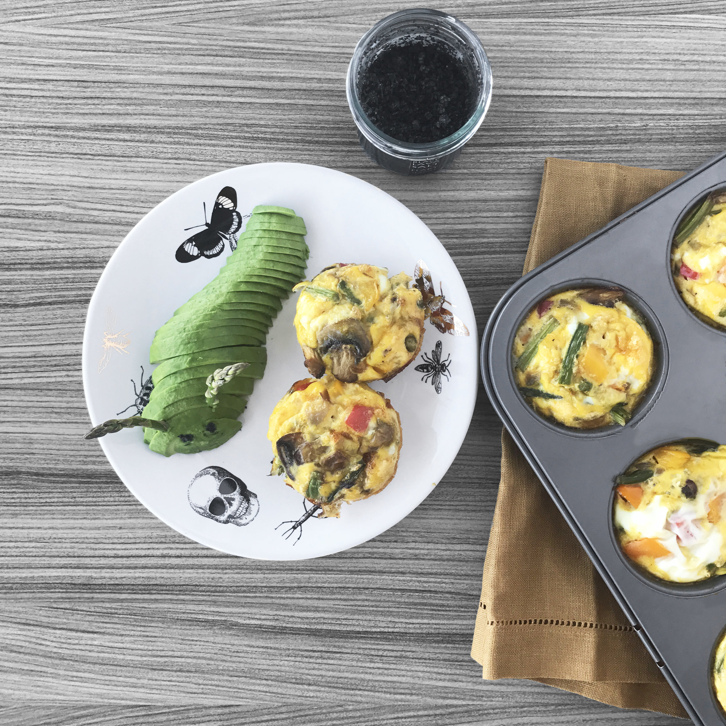 Above: spinach + mushroom + red bell pepper + red onion Egg Muffin