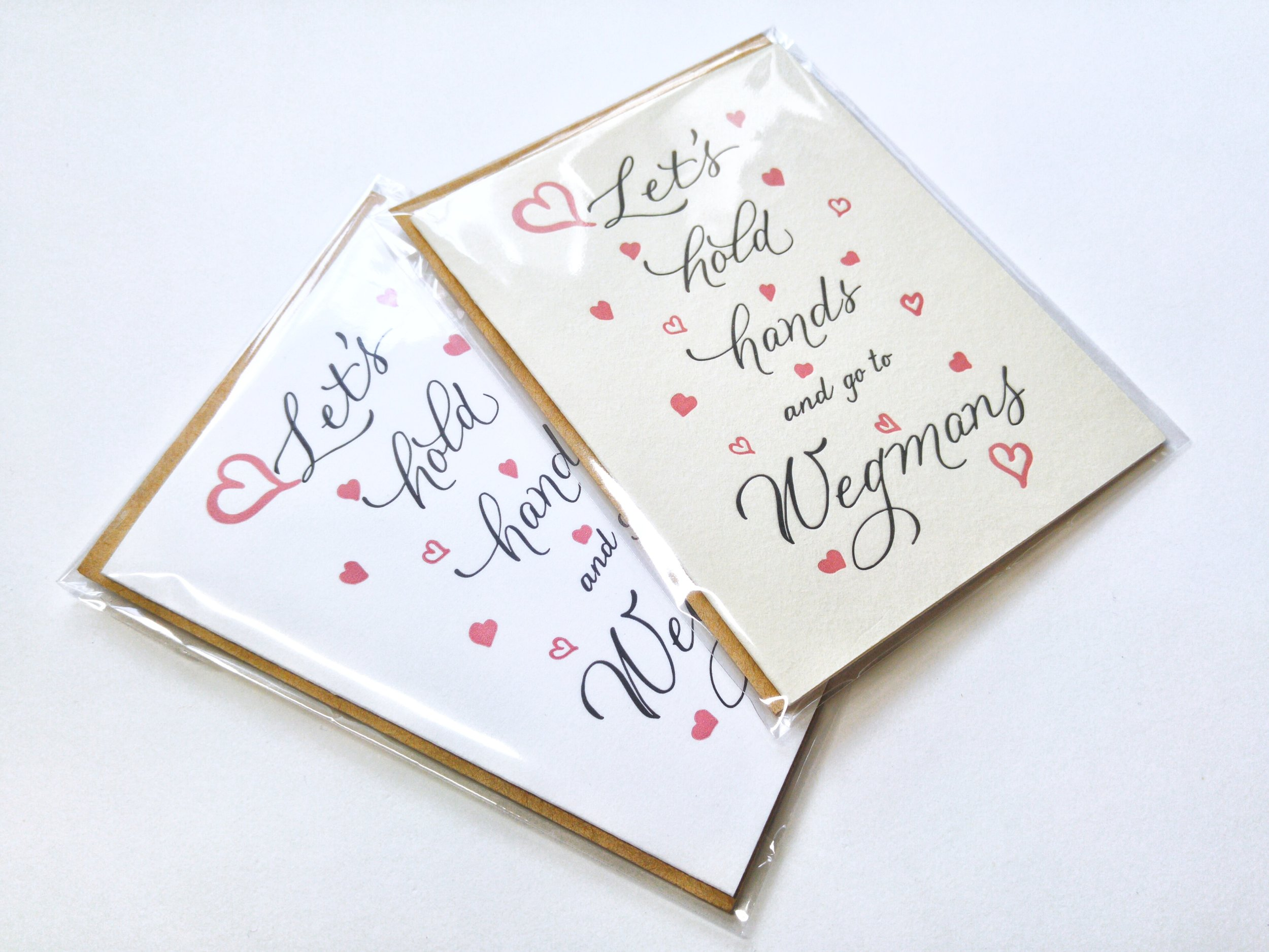 Let's Hold Hands and go to Wegmans letterpress greeting cards.