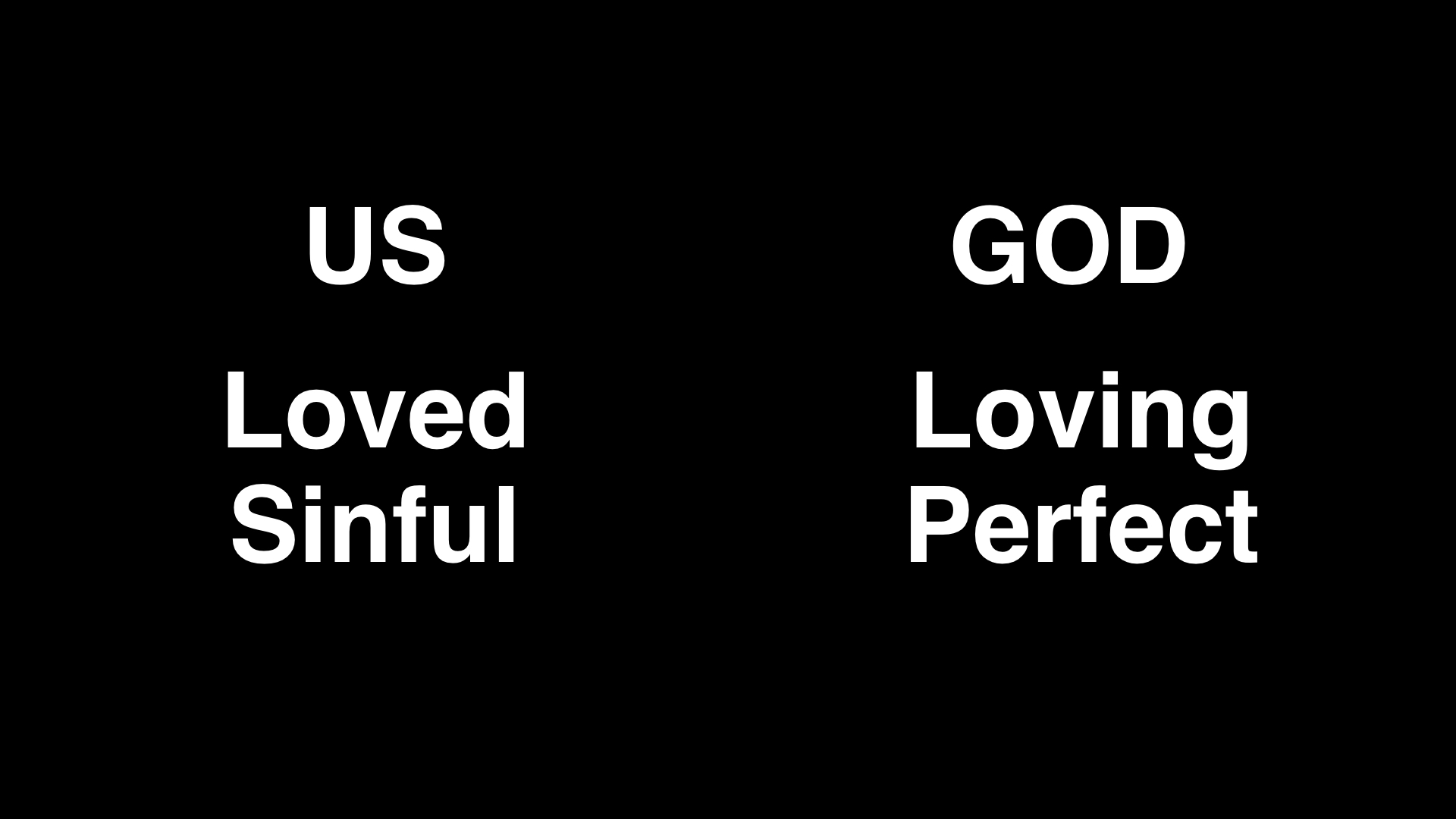 Unfortunately, this relationship of love with God has been ruined. Instead of allowing God to be God and to direct our lives. We decided to do our own thing. We wanted to be our own gods and to decide what would be right and wrong for us. This is what the Bible calls sin. Sin is rejecting God and his leadership. Sin is breaking his law. So though we are loved, we are also sinful. And though God is loving, he is also perfect or holy. So God will not tolerate our sin.