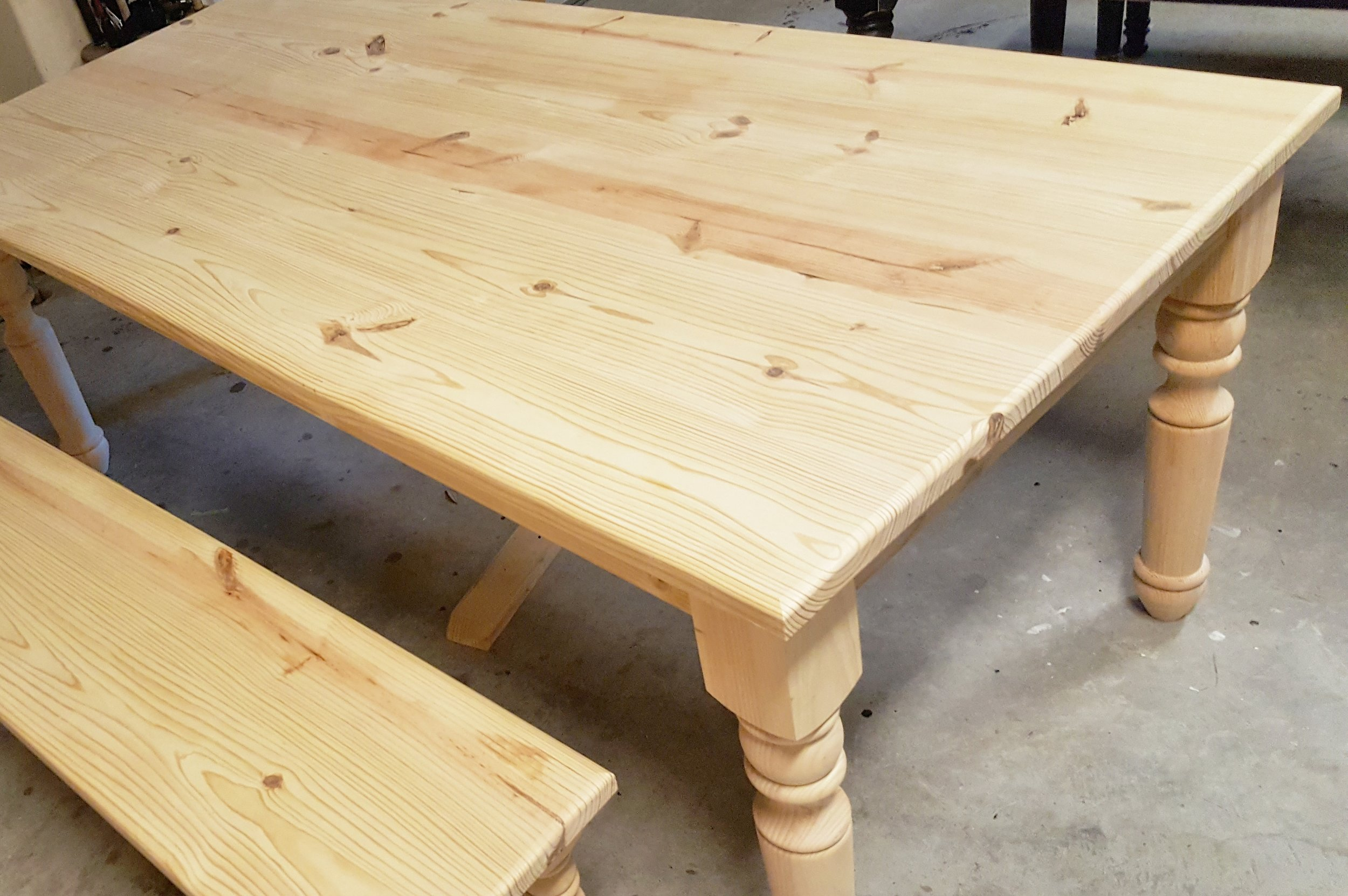 Gathering Farmhouse table in the shop ready to be stained