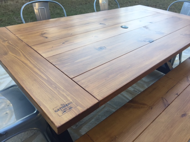 Original Gathering Table with Classic Brown Stain top and Distressed Black Painted Base - treated for outdoor use