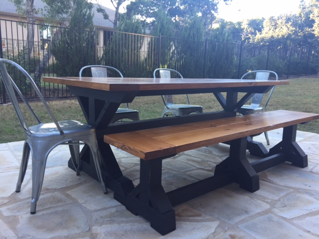 Original Gathering Table with Classic Brown Stain top and Black Distressed Paint base - treated for outdoor use