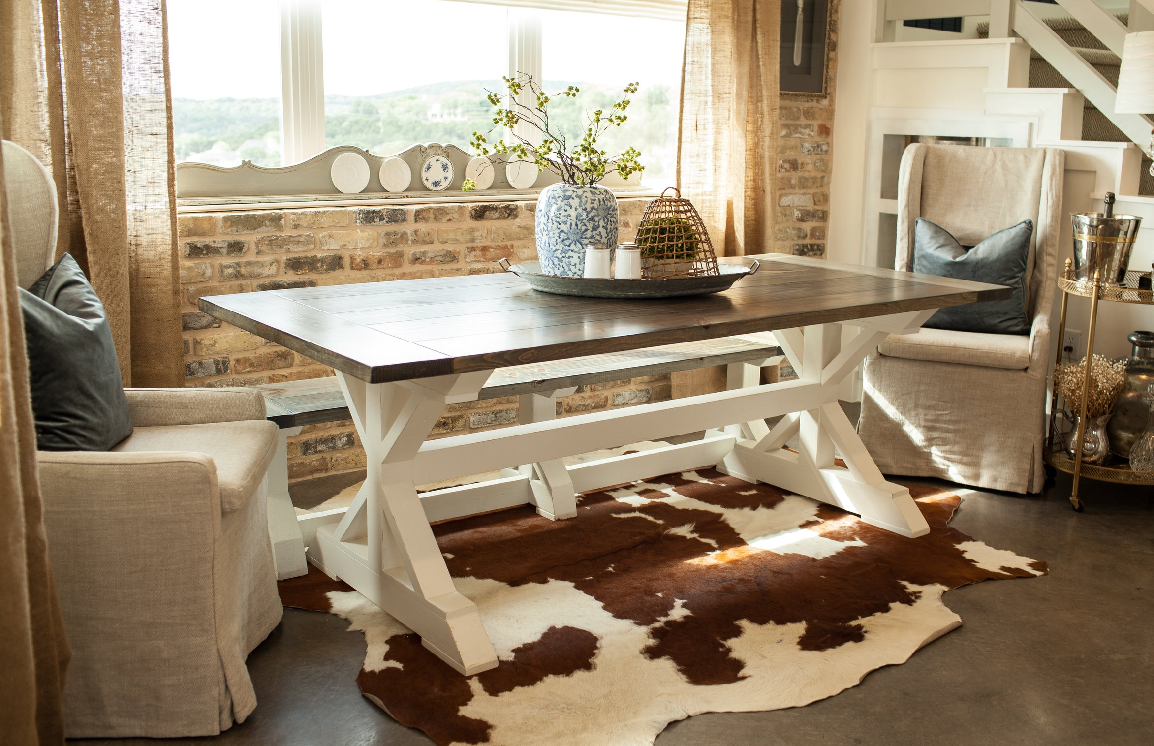 Original Gathering Table with Aged Gray top and Antique White base