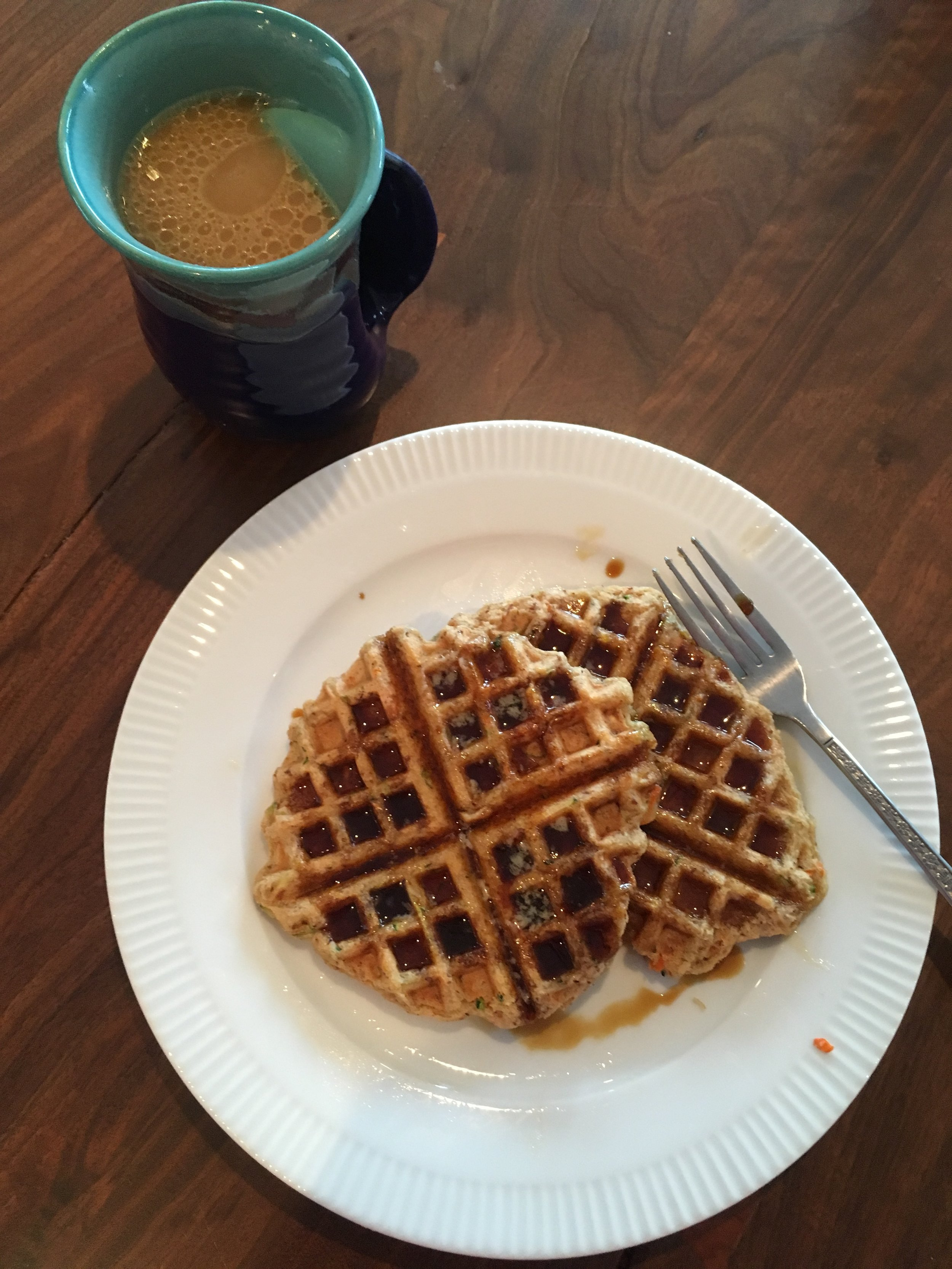 Zucchini Carrot Waffles and coffee with coconut oil and coconut cream:)