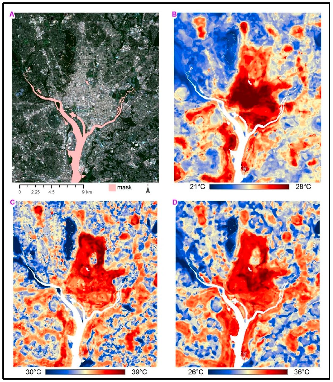Figure 2.  Washington, D.C. ( A ) aerial imagery with major waterbodies masked; ( B ) morning UHI; ( C ) afternoon UHI; ( D ) evening UHI. (Shandas et al., 2019).