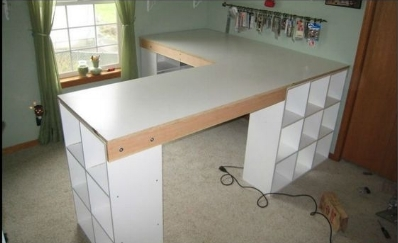When I was looking online, I found this image from  craftingismylife.org  on Pinterest. I have a bit of an obsession with cubby storage, and so it was love at first sight! I also knew that since we were building the desk ourselves, we would prefer to have the top sit on something as opposed to having to figure out legs.