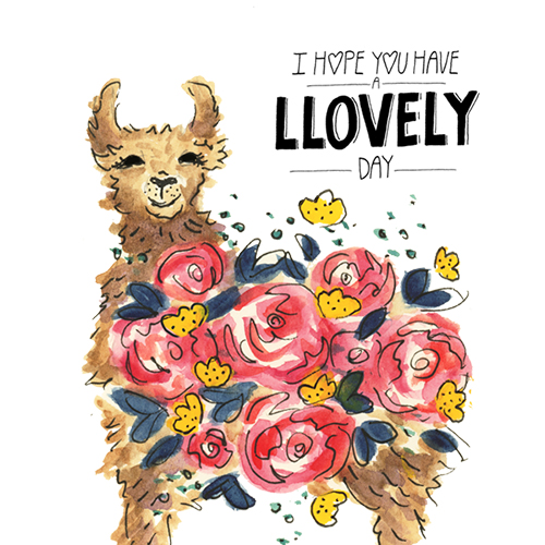 Watercolor llama floral illustration with hand lettered typography art