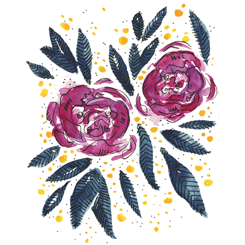 Watercolor magenta and indigo floral illustration for licensing