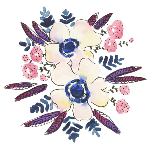 Watercolor colorful anemone floral illustration