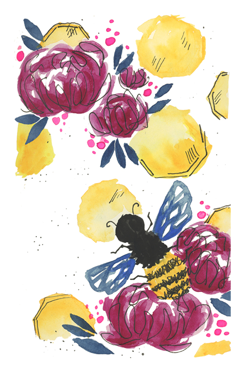 Watercolor and ink honey bee, honeycomb, and flowers colorful floral illustration