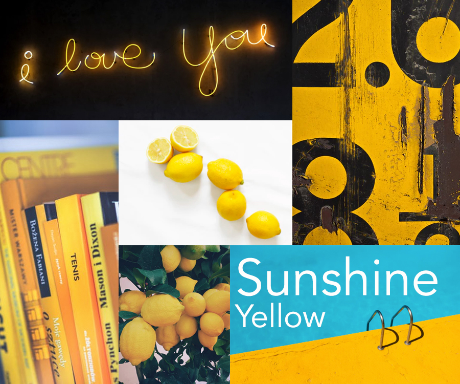 Catherine McGuire color of the week: sunshine yellow mood board trend