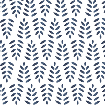 Indigo blue ferns watercolor pattern