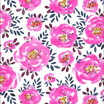 Pink yellow magenta indigo watercolor floral pattern