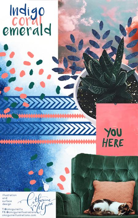 Catherine McGuire indigo coral emerald mood board.jpg