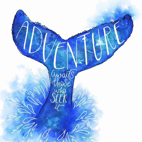 Watercolor Whale Tail Splash with Hand Lettered Adventure Quote