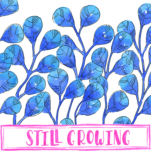 Blue Ombre Watercolor Leaves with Hot Pink Hand Lettering