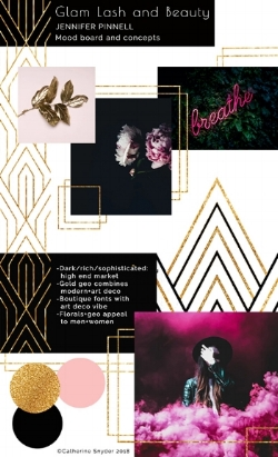 Glam Lash and Beauty website design mood board by Catherine McGuire