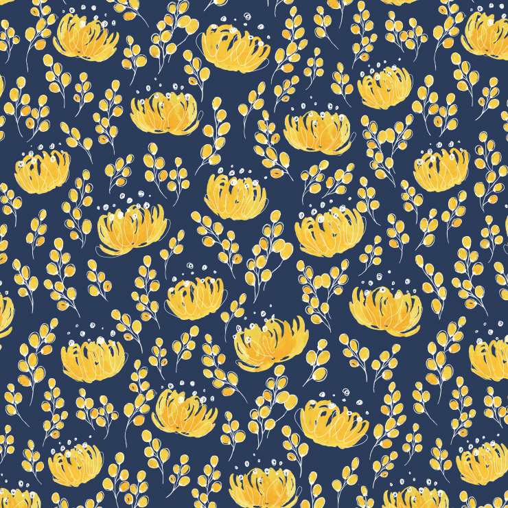 Navy and yellow watercolor floral pattern