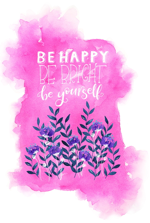 Hot Pink Watercolor Floral Quote Art