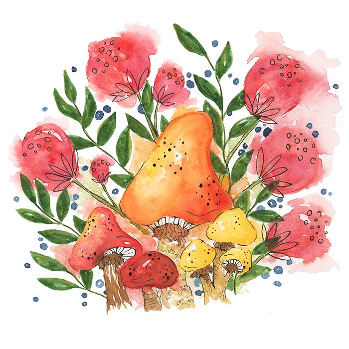 Watercolor Mushroom Floral Forest Illustration