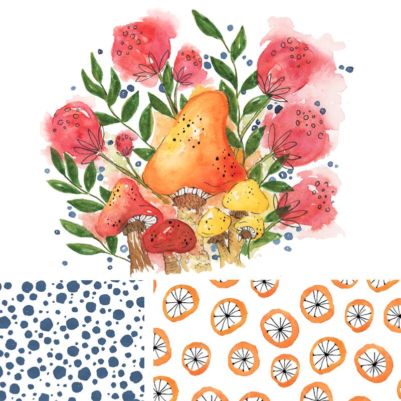 Watercolor mushroom mini surface design collection©.jpg