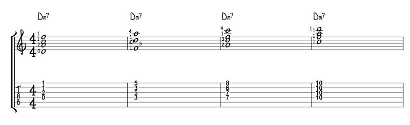 Vier Voicings für Dm7, die gut klingen und leicht zu greifen sind