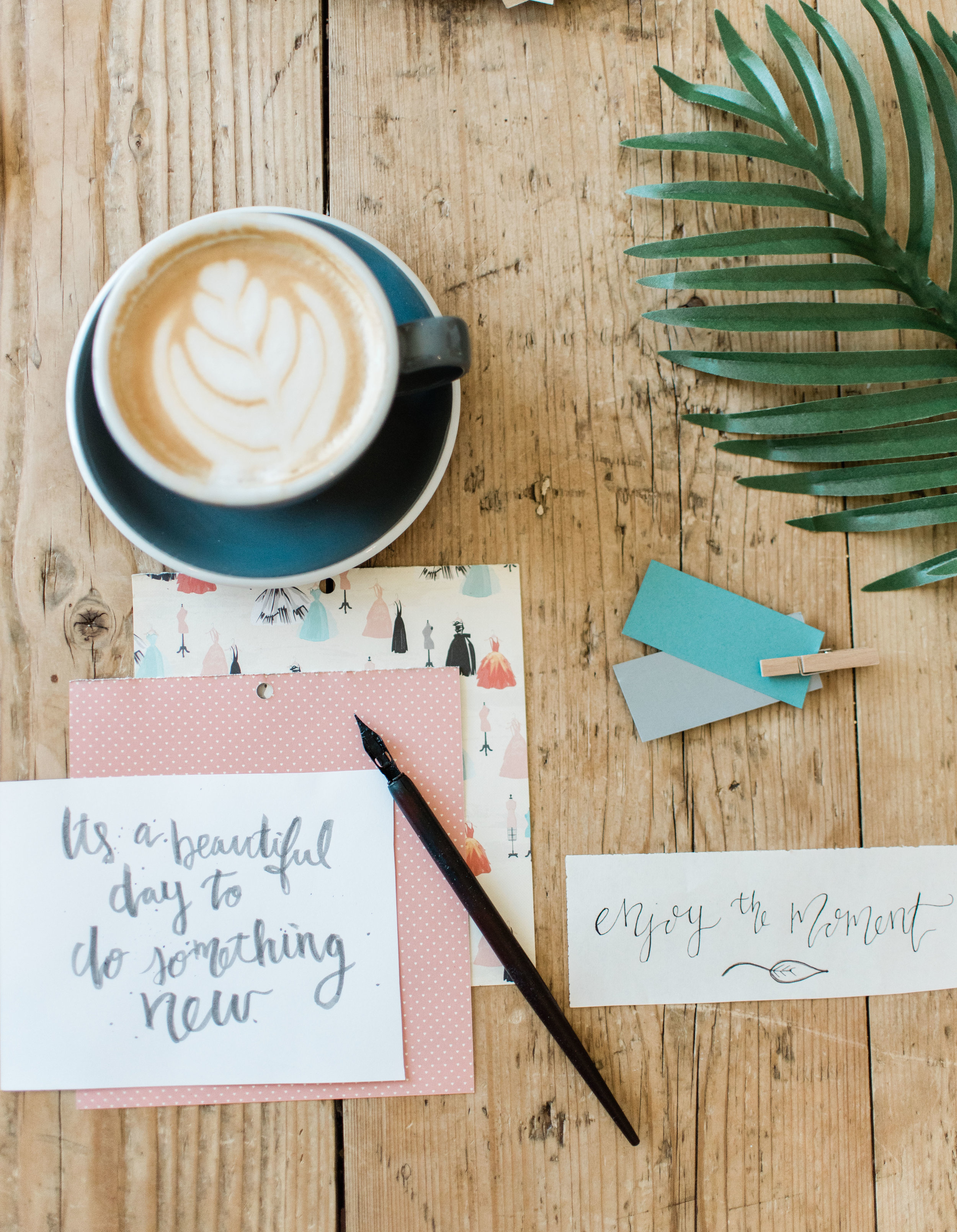Mood boards are always so inspiring for me, espcially when i get to throw in some calligraphy! There is nothing like a good cup of coffee and message to inspire a day!
