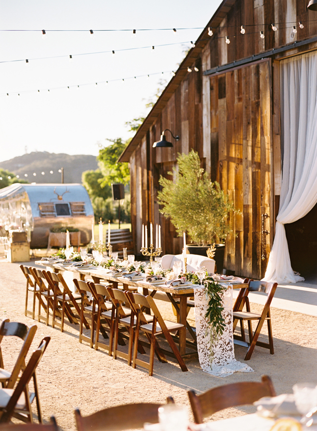 Can you spot our Vintage Trailer Photo Booth in the background of this gorgeous Greengate Ranch Barn wedding?