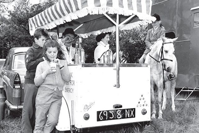 Name a better way to enjoy a glass of ice cold milk 🥛 then on tap, out of a vintage vending trailer, from the back of your pony🐴?! We'll wait .... . . We have an unhealthy & deep obsession with early vintage trailers from the 1930s-40s that were used for vending, as mobile churches and mobile telegraph services, libraries on wheels,  election campaigns and the list goes on! Click the link in our bio to see our recent blog post highlighting some of our favorite quirky mobile business trailers throughout history (and a few of our own vintage trailers we've converted as well)! #vintagetrailer #americanhistory #gotmilk