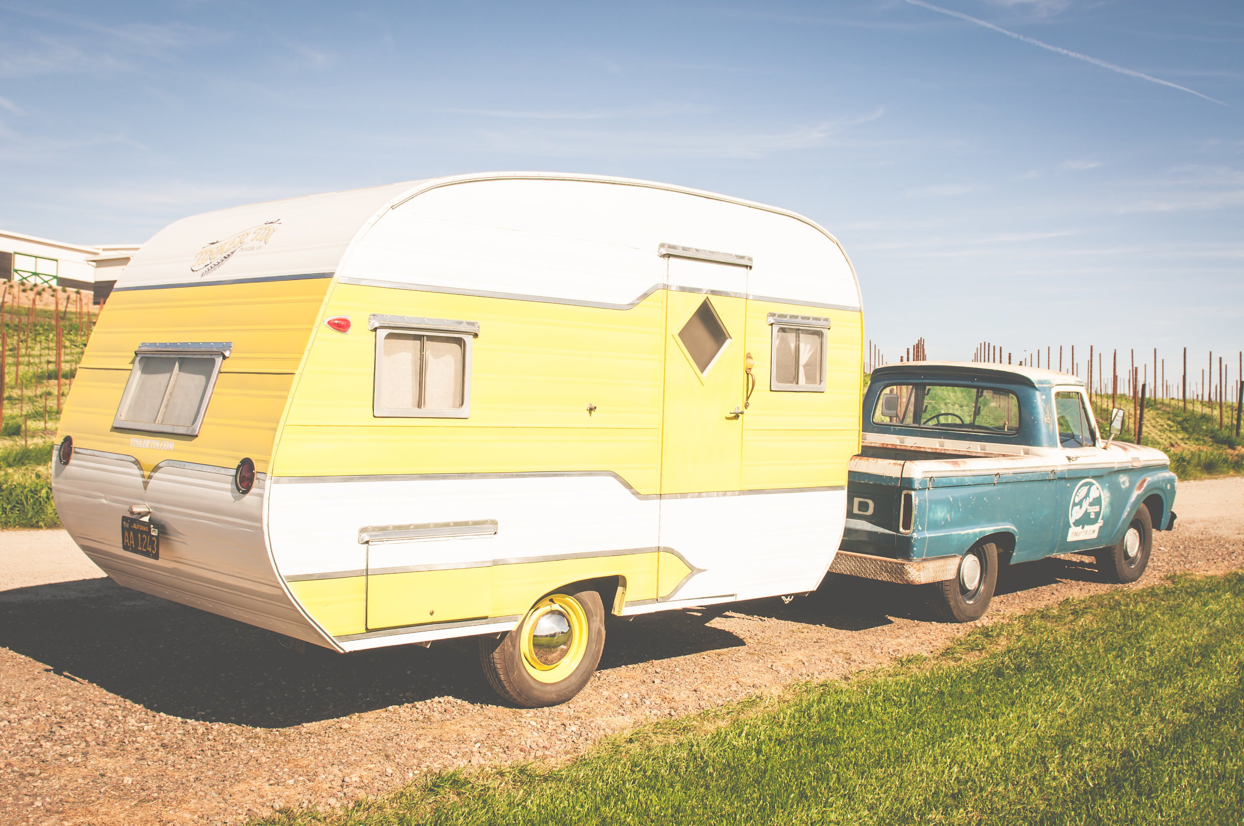 1950s VINTAGE yellow camper TRAILER, canned ham, AVAILABLE FOR MOVIE AND PRODUCTION RENTALS, FOR BACKSTAGE LOUNGES, FILMING, TV & MOVIES, FOR HAIR AND MAKEUP, COMMERCIAL AND CATALOGUE PHOTO SHOOTS & MORE